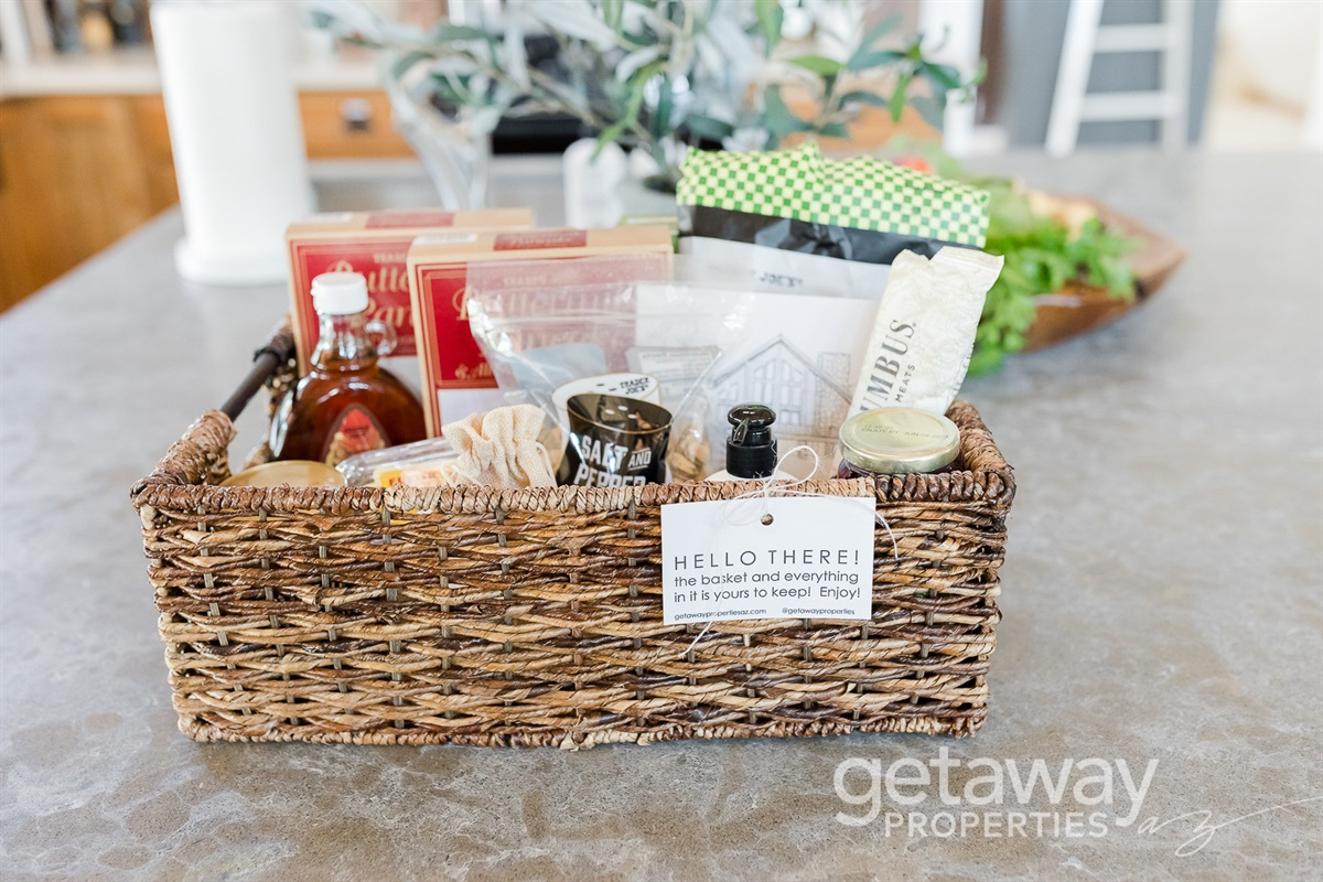 Welcome Basket included w/ each booking! *$125 value*