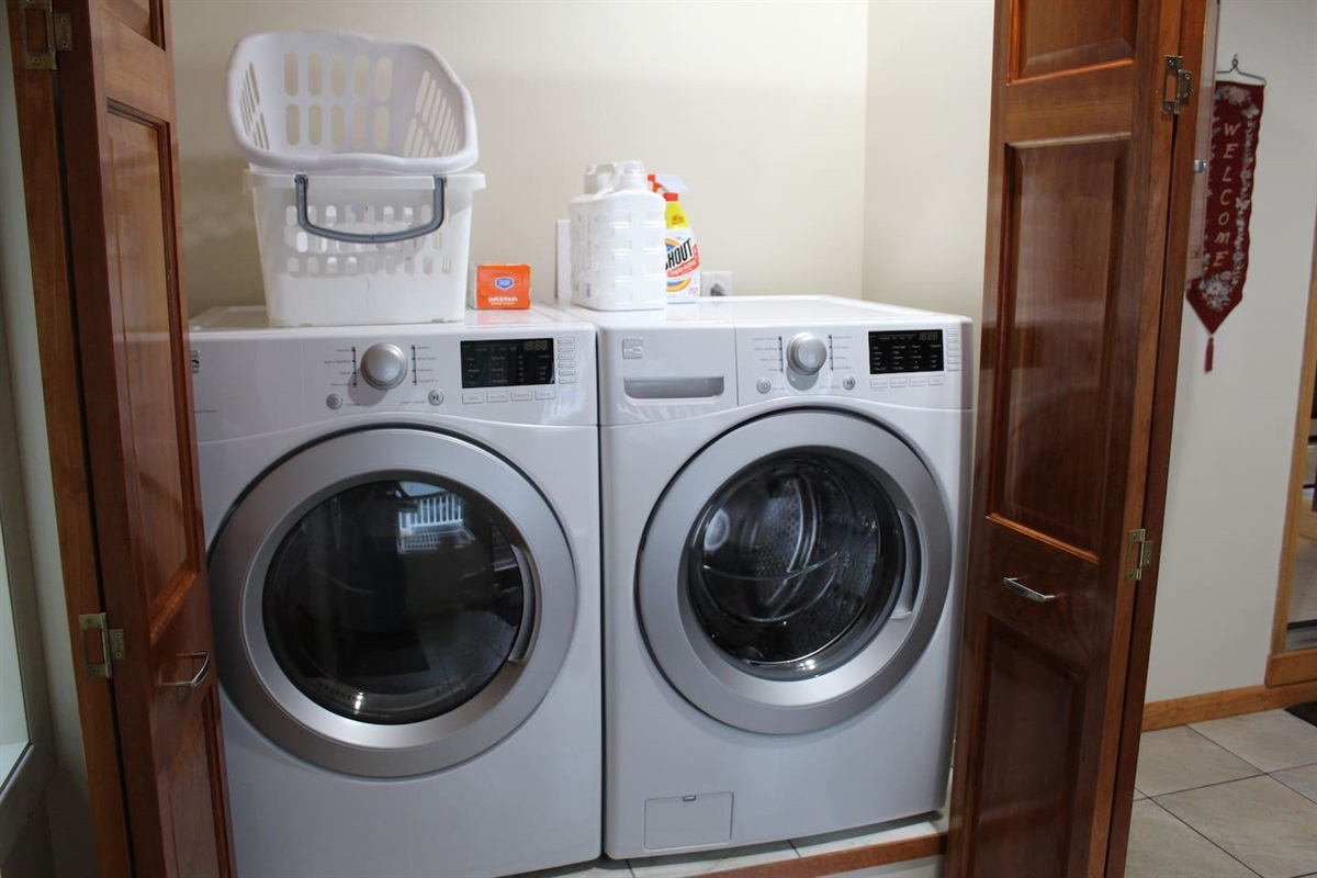 Laundry area in the foyer
