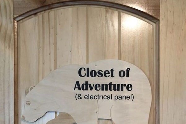 Closet of Adventure - hiking poles, bear bells, backpacks and more for your use