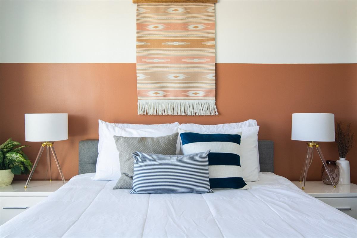Memory foam queen bed in bedroom #1