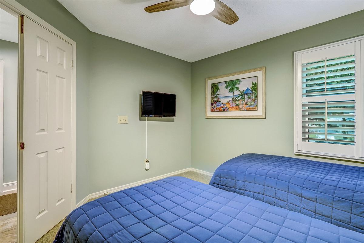 TV in Twin Guest Bedroom