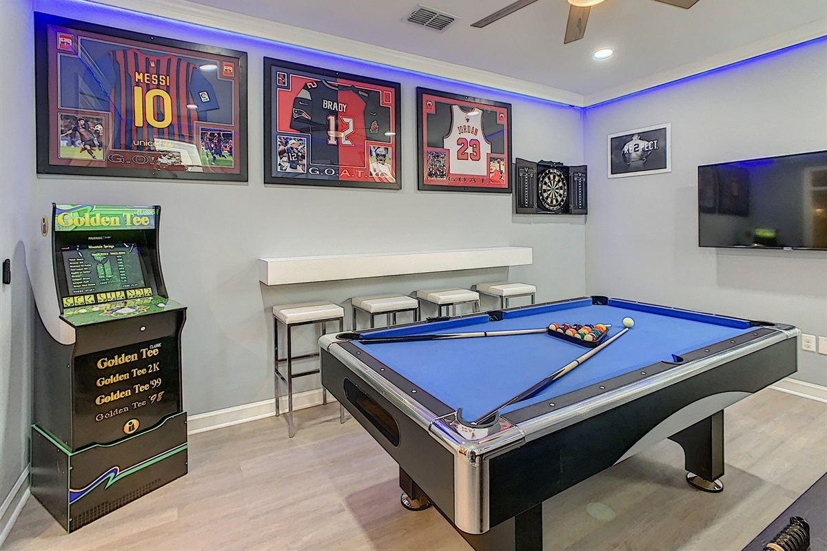 Pool Table, Darts and Golden Tee Machine