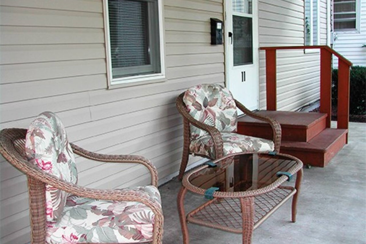 Covered front porch sitting area