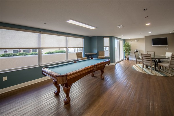 Club House on 1st Floor w/Billiard Table, gym, card tables, kitchen, restrooms