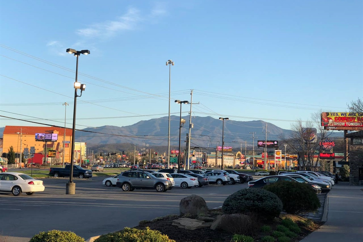 Pigeon Forge 6 miles from the cabin.