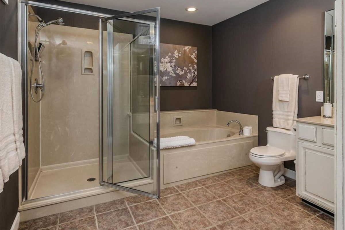 Jacuzzi tub and walk-in shower