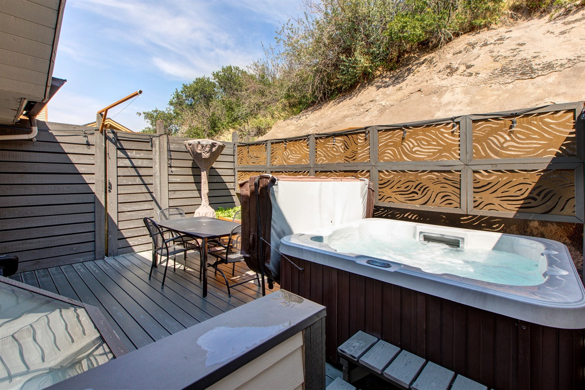 Private patio - hot-tub, dining