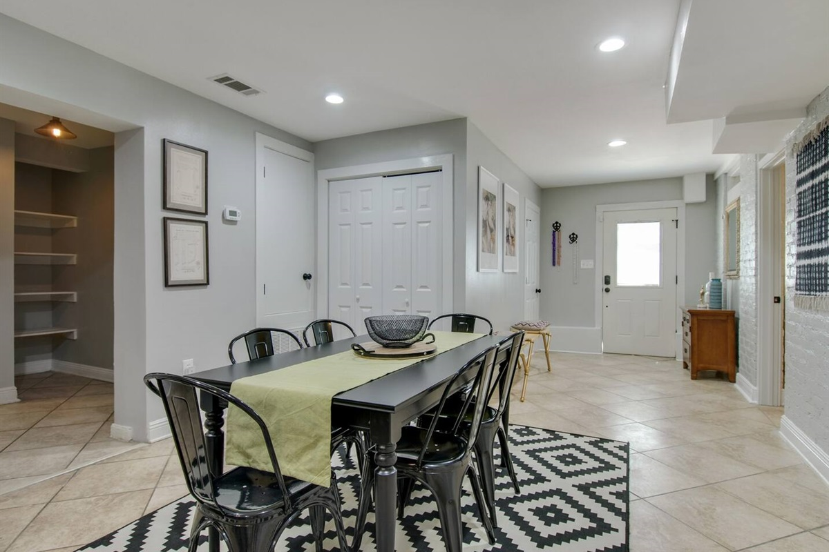 Dining area and view of front entry.
