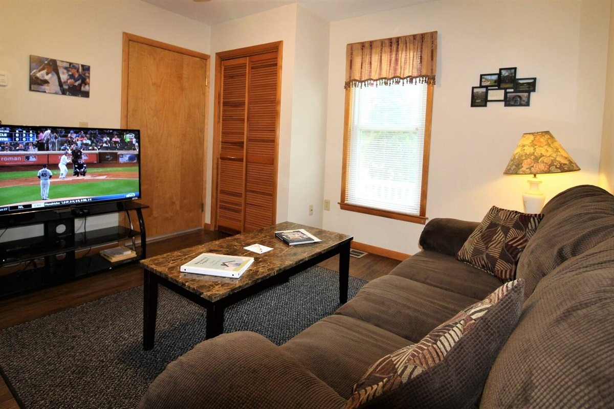 """Living Room with 50"""" (or larger) Smart Roku TV with cable"""