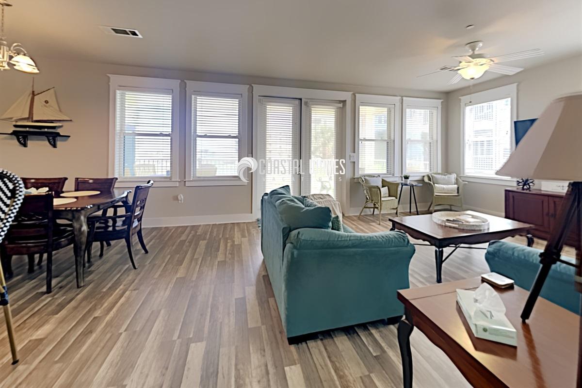Living area with door to Oceanfront views