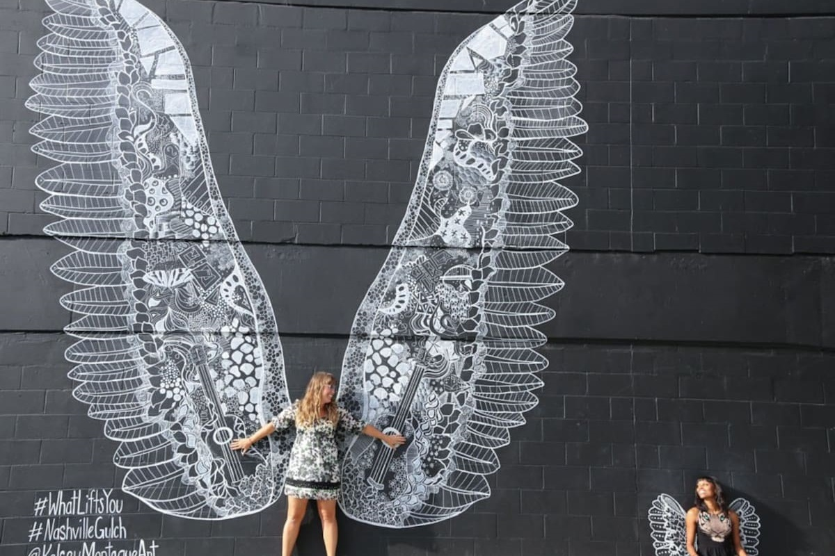 """Snag a photo by the famous """"wings"""" mural, just 5 minutes from the home in The Gulch"""