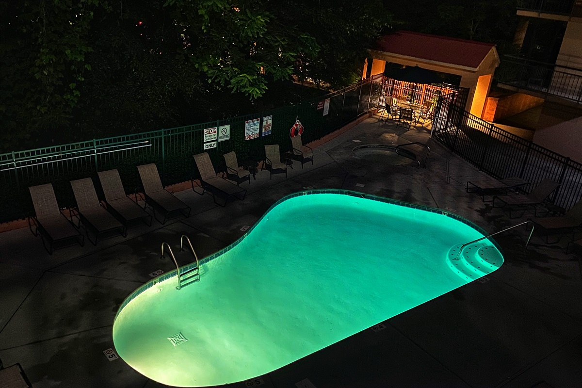 Summit Manor pool at night