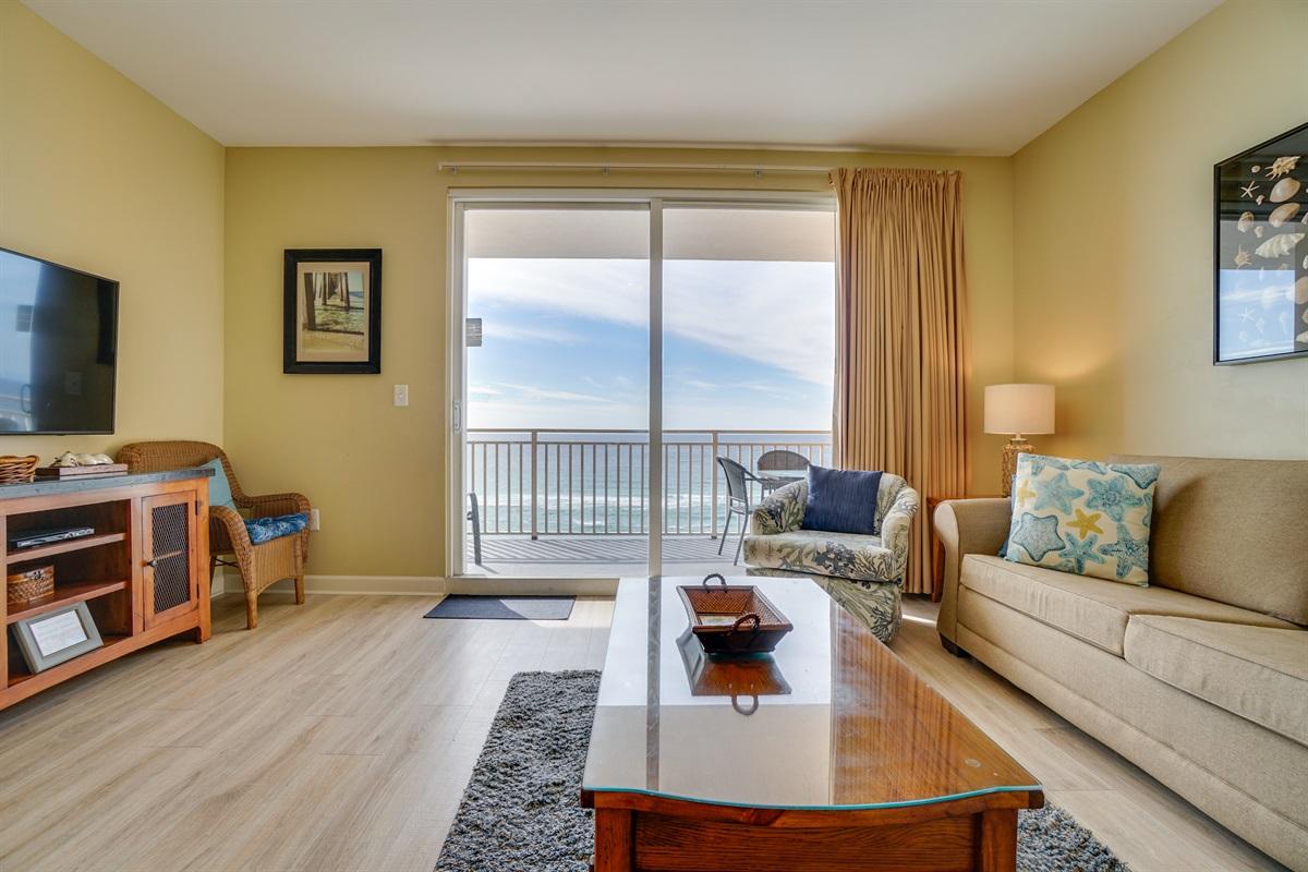 "Living Room with Sleeper Sofa & 55"" Smart TV"