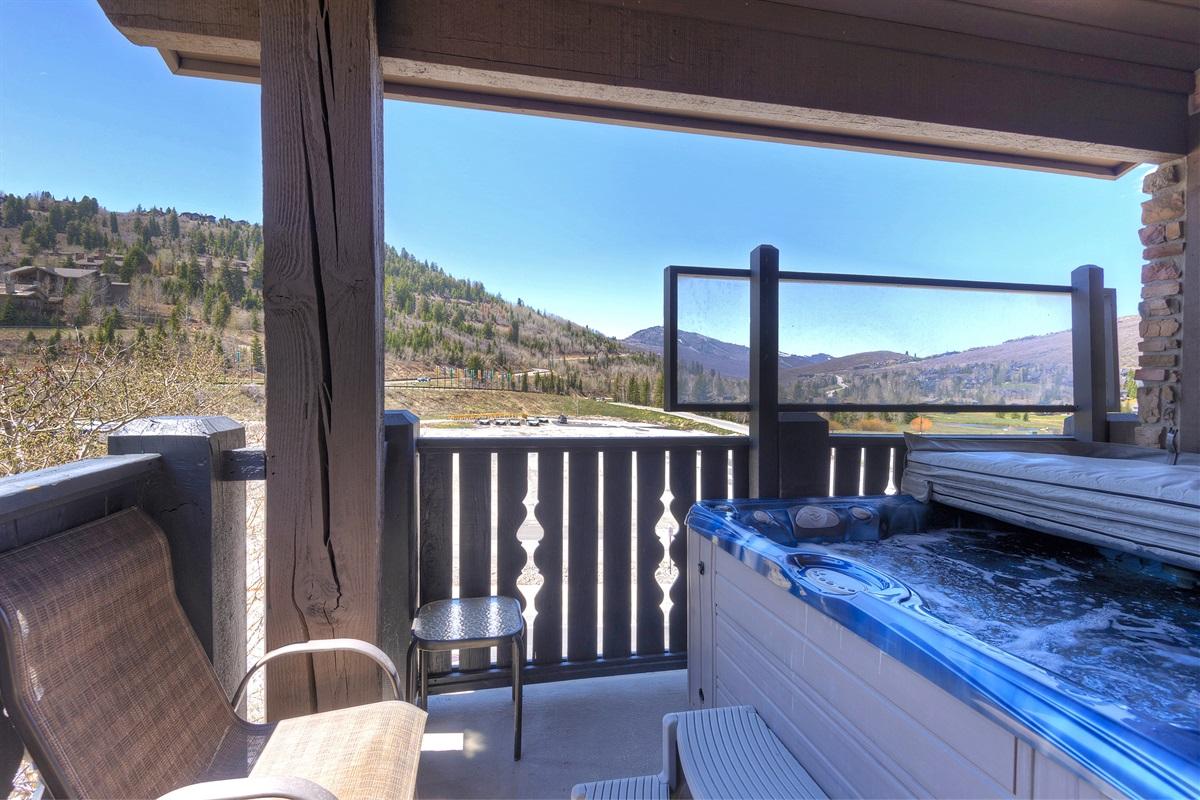 Private hot tub on private deck - looking towards Deer Valley Resort