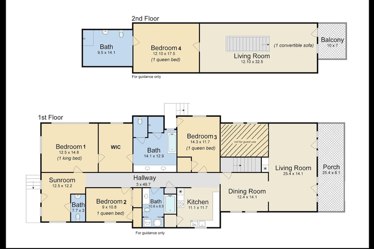 Floor plan and beds