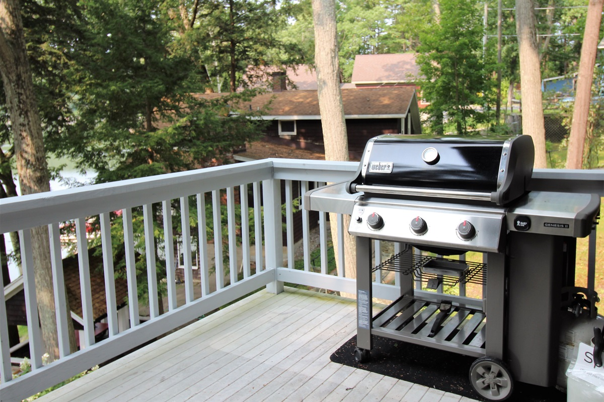 Gas grill on main deck for your enjoyment