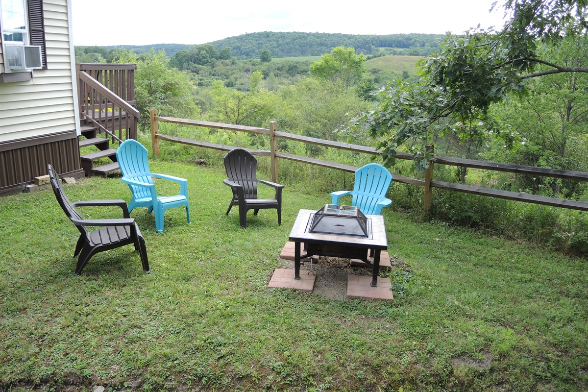 Side yard with firepit