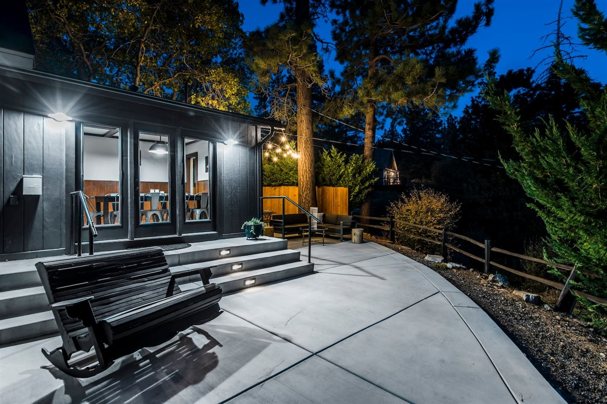 The back deck offers several sitting areas that are perfect for stargazing.