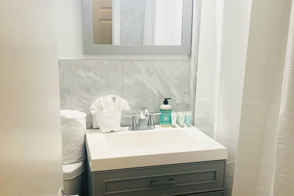 Newly renovated marble bathroom.