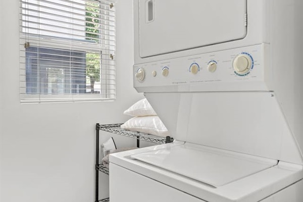 Washer and dryer available with laundry detergent in case you need to do some washing during the trip!