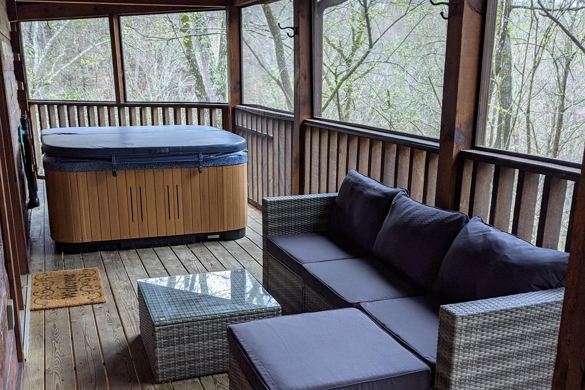 New patio furniture near the hot tub.