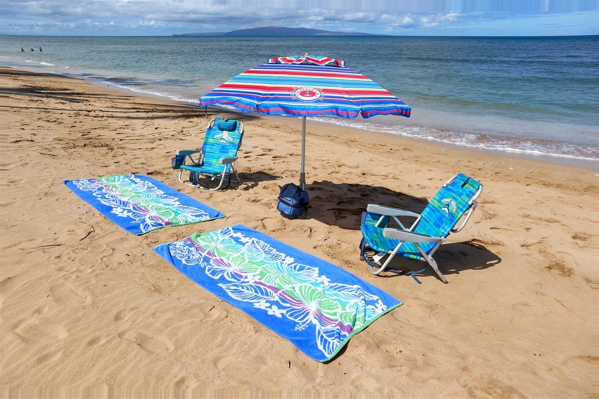 Beach gear included