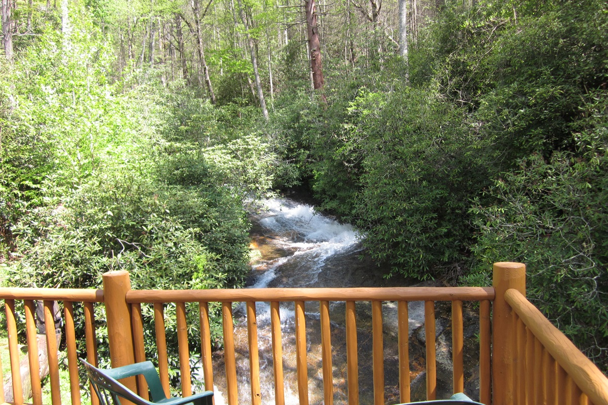 Sit outside and watch the water flow peacefully down the creek