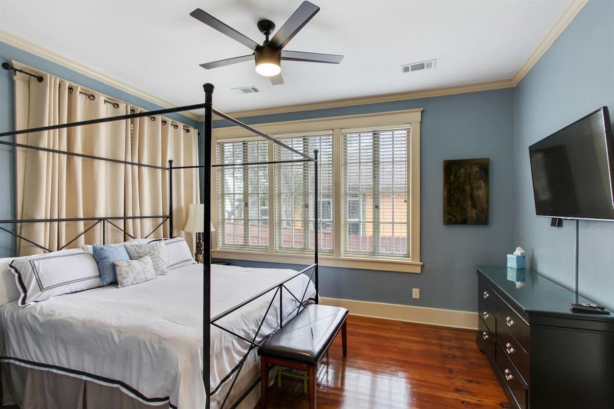 """Bedroom 1. King memory foam. 49"""" tv. Huge walk in closet and en-suite bathroom."""