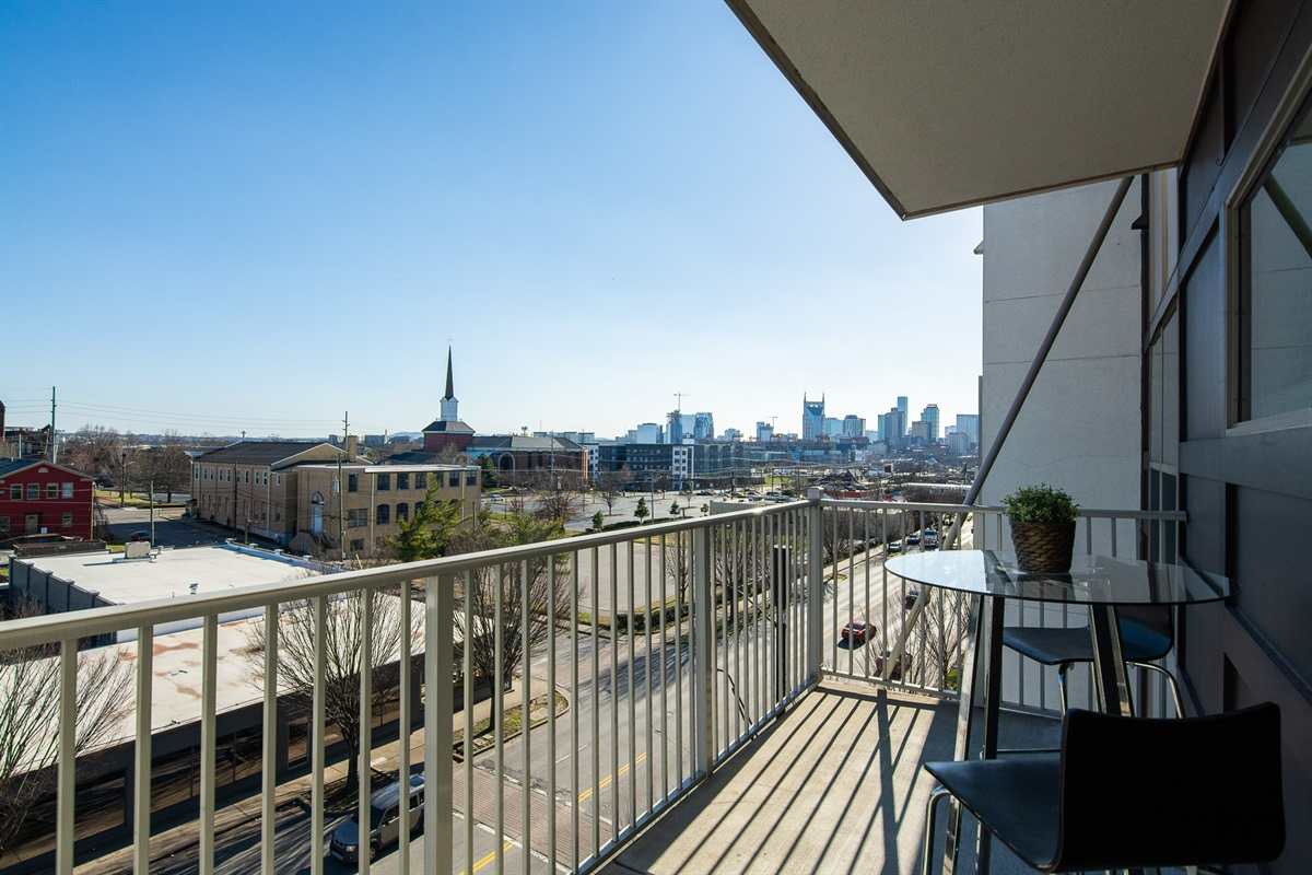 Enjoy a cup of coffee or your favorite beverage and look out at the Nashville skyline from your own private balcony