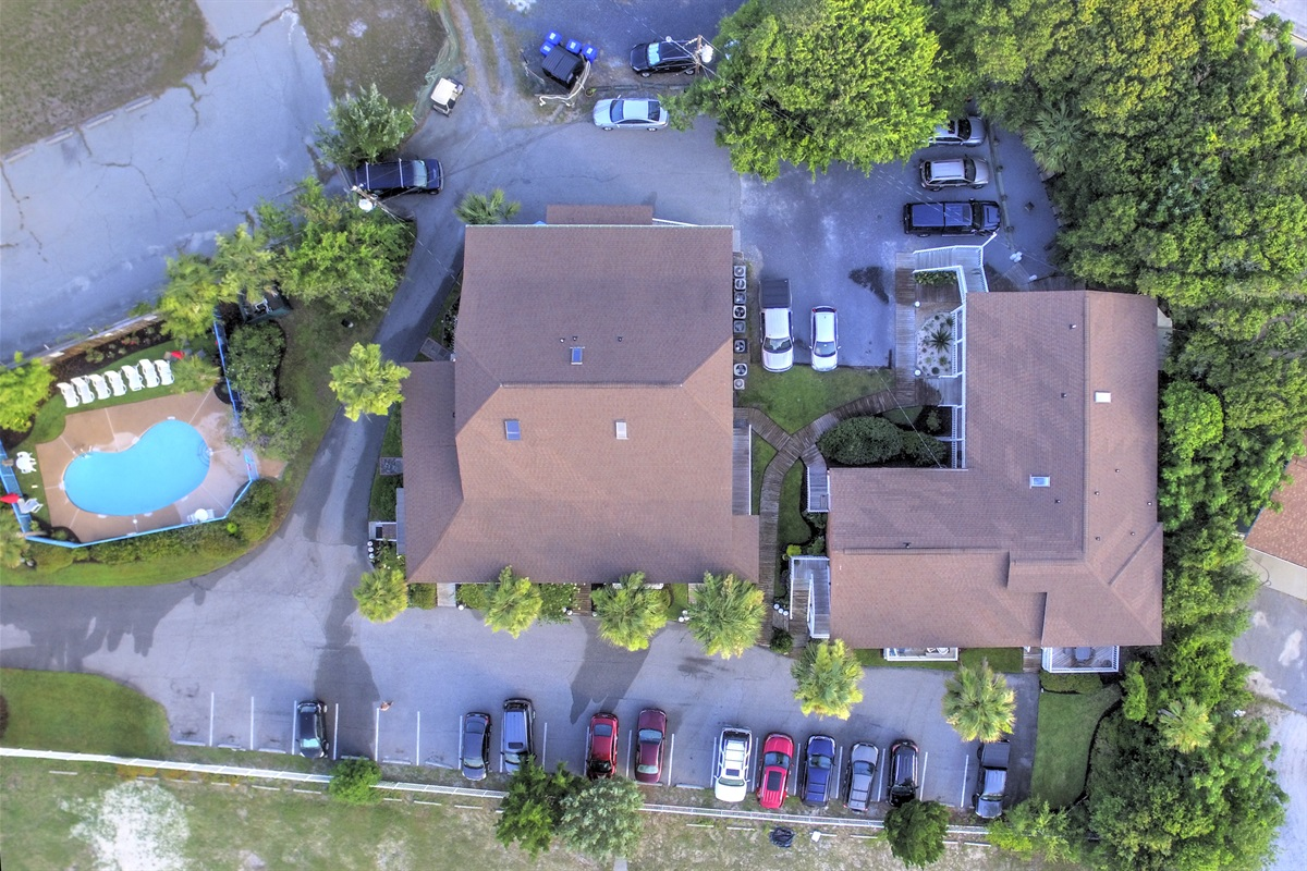 Unit 102 is center top of this photo, located on the back (quietest) side of the property