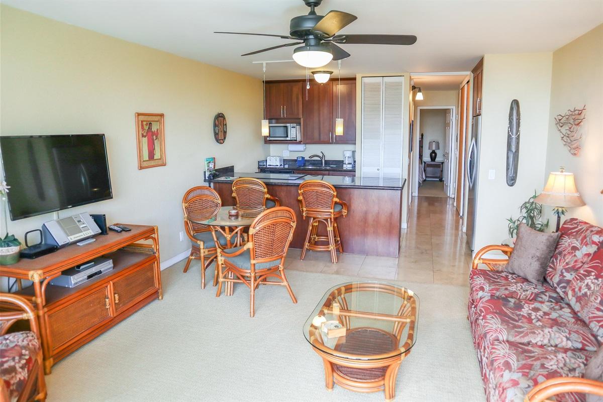 All sparkling new -- tile floor, large TV, great kitchen, sleeper sofa