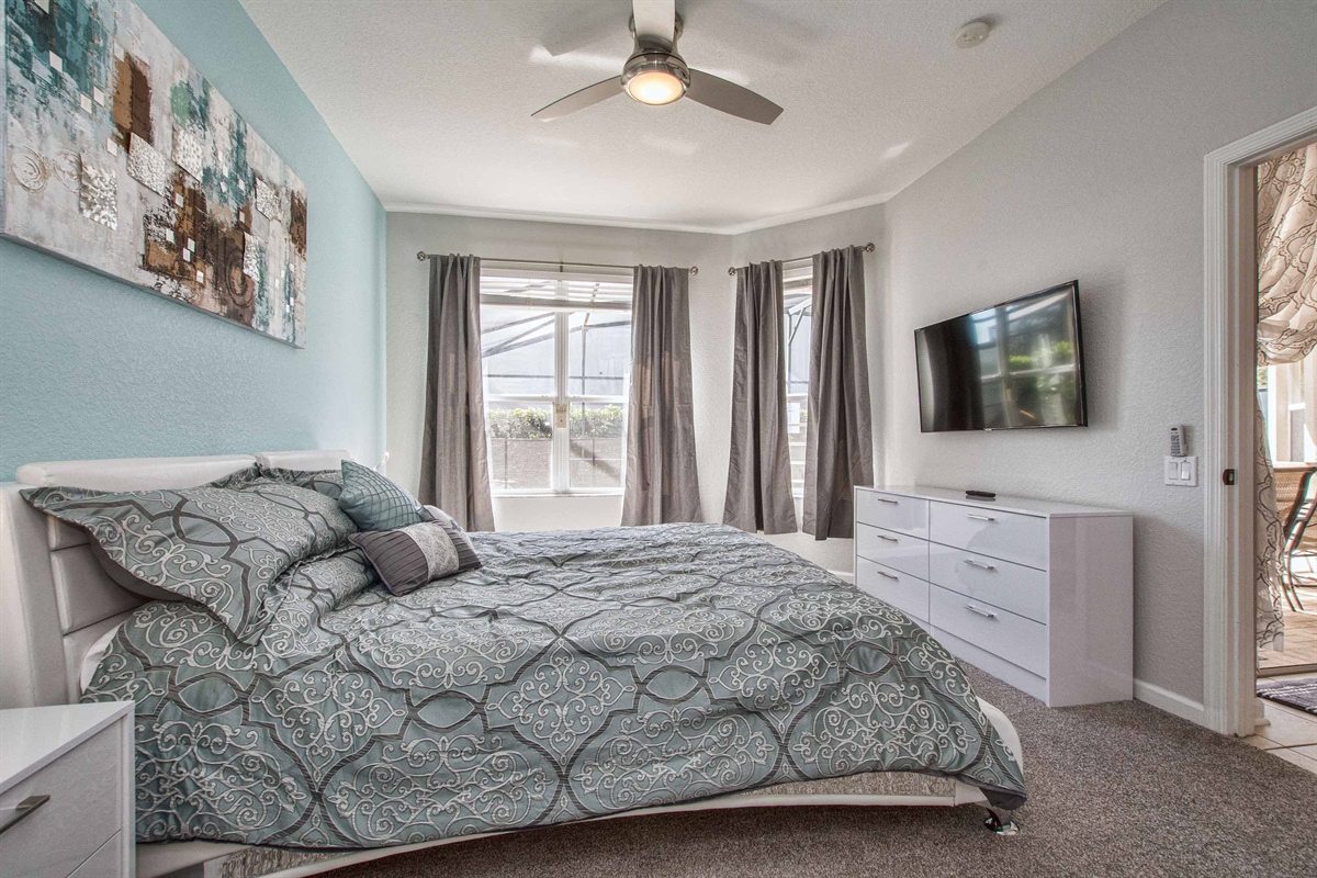 Master bedroom has a large screen smart TV for watching your favorite shows.