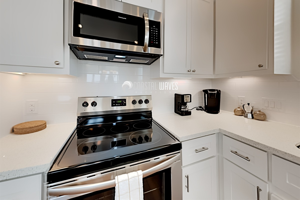 Stove with oven & microwave