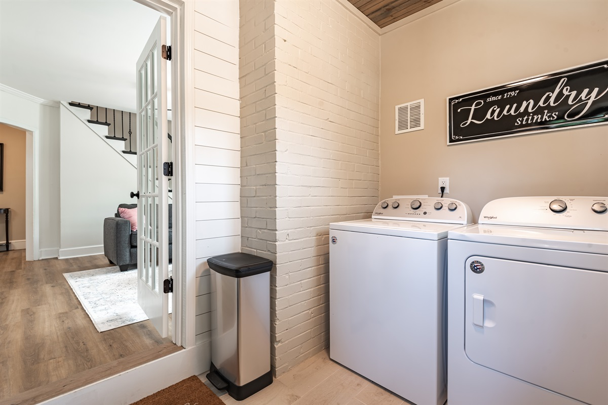 Laundry Room with full size Washer & Dryer with detergent