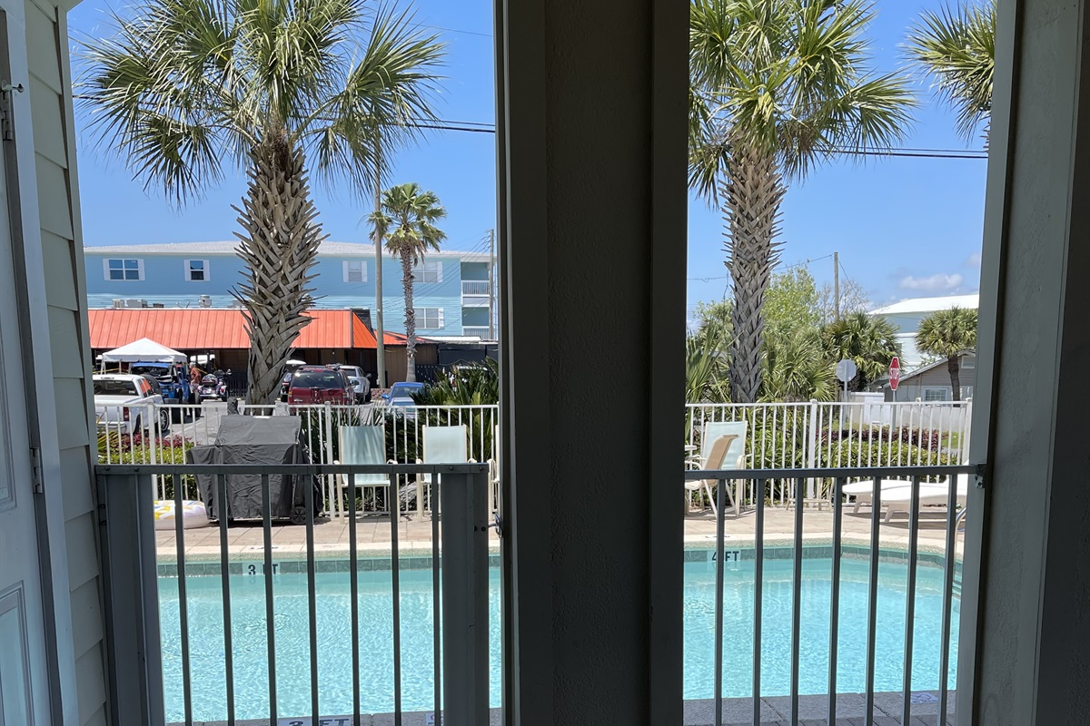 View of pool from carport deck