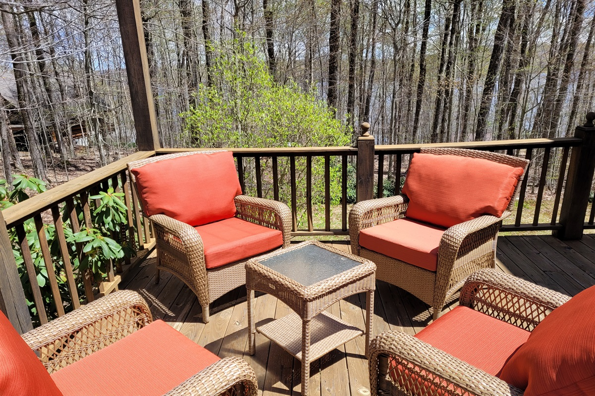 Back deck with comfortable seating area