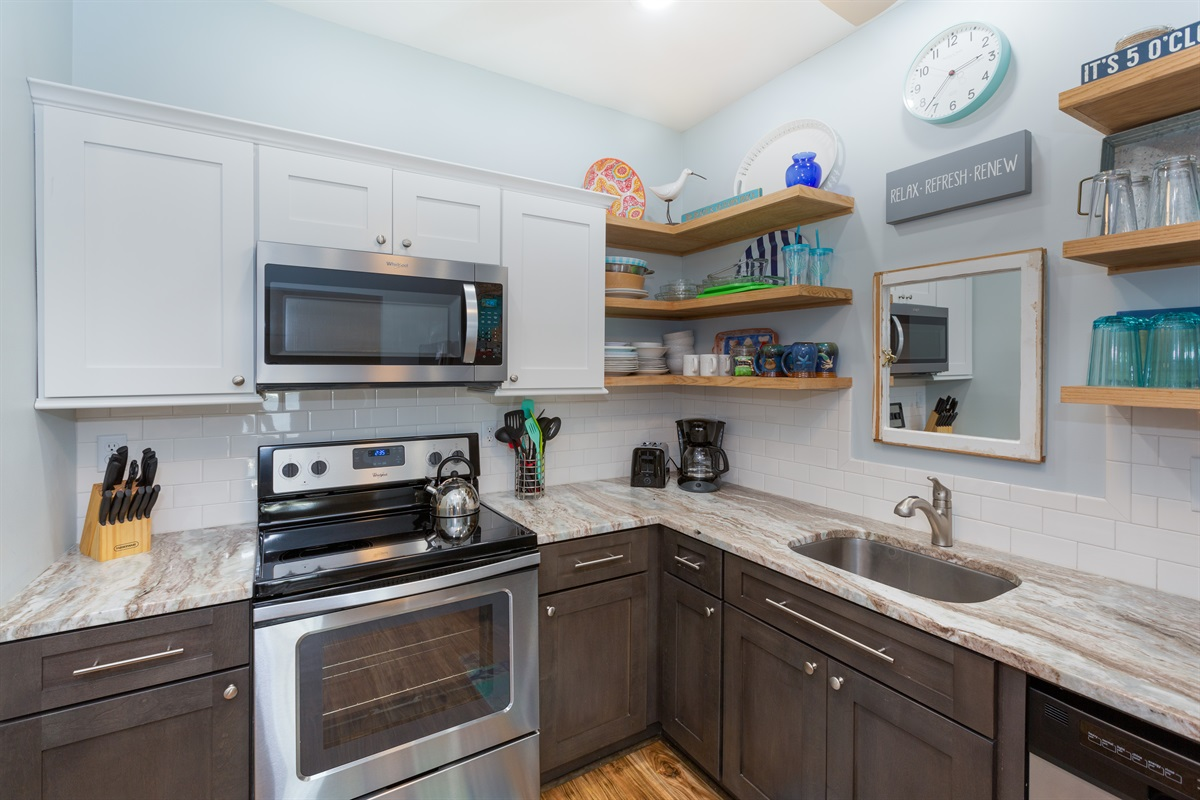 Well-appointed kitchen for longer stays when eating in is preferred