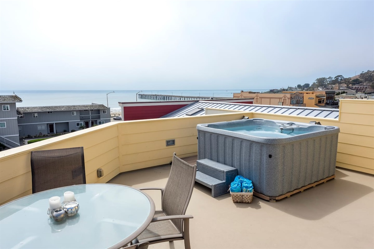 Roof top deck with hot tub