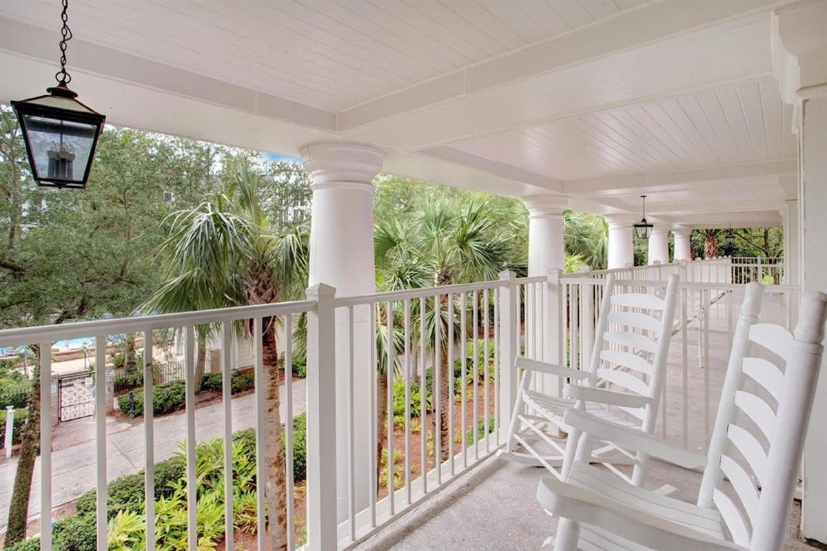 Large Balcony overlooks to the pool area