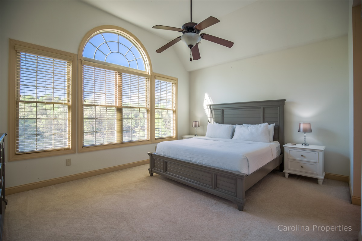 Main level master bedroom with king size bed