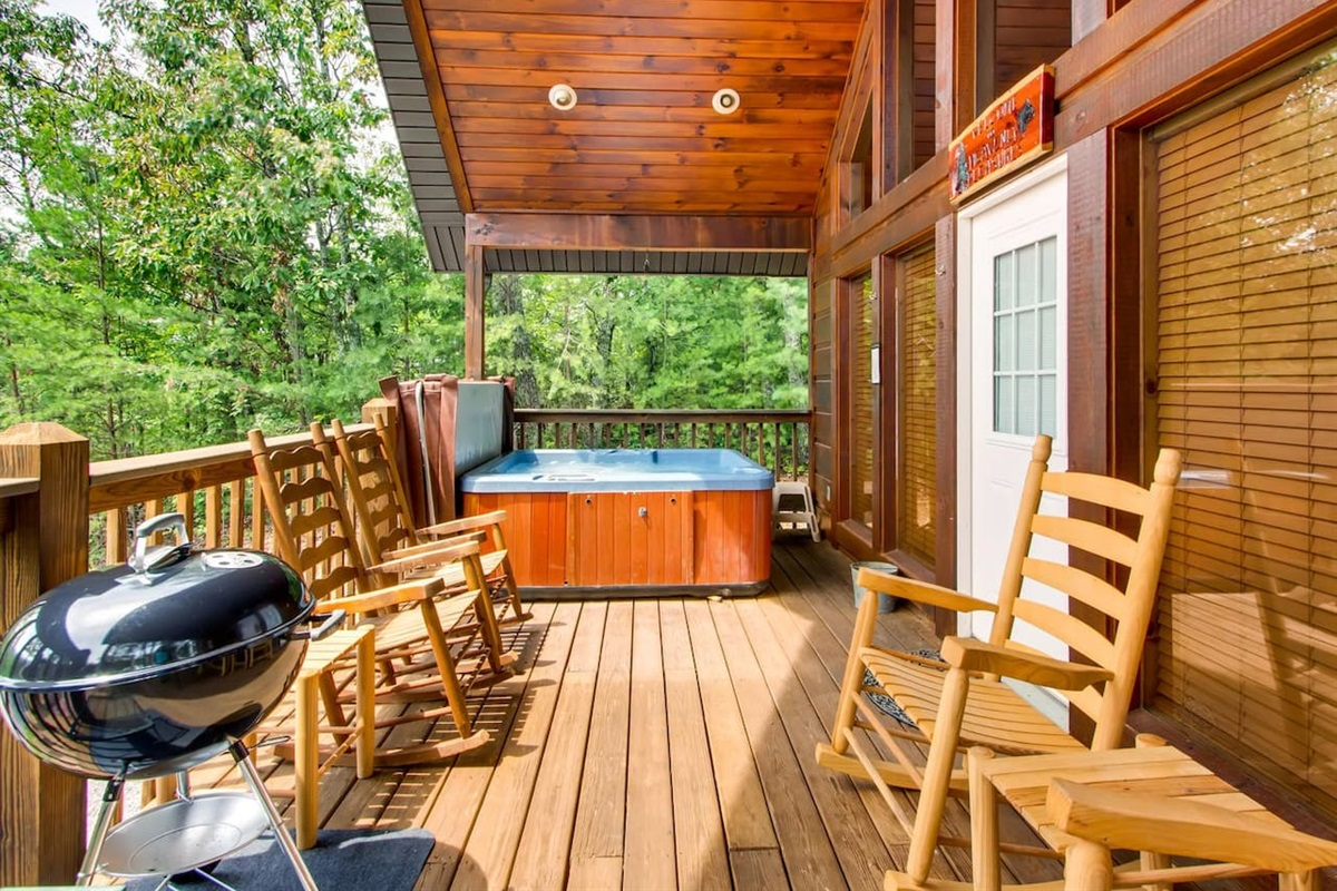 Relax in the hot tub and take in the views from your front porch
