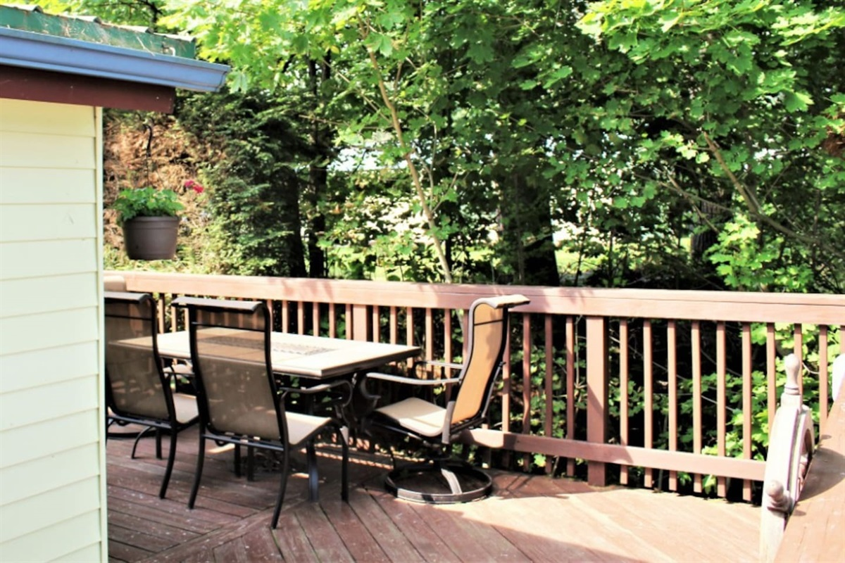Spacious multi-tiered deck for dining and relaxing