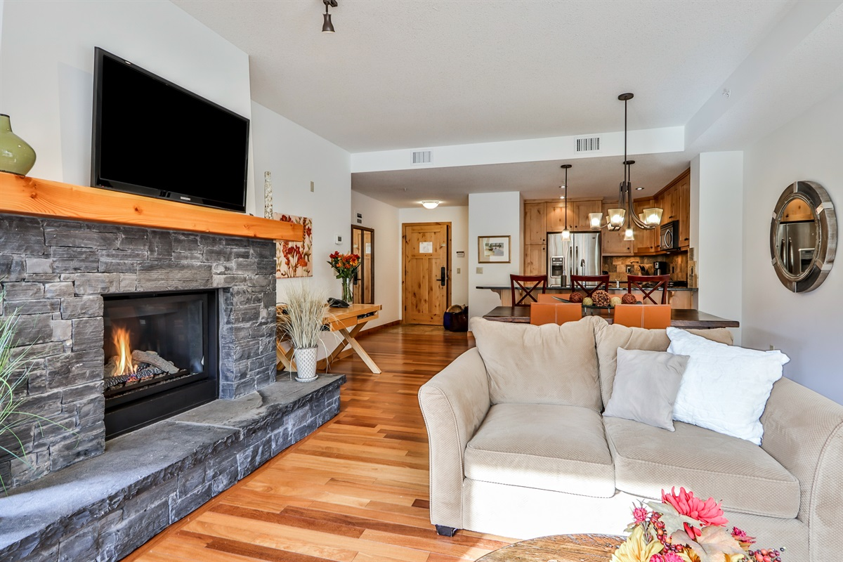 Relax by the fireplace and read or watch TV