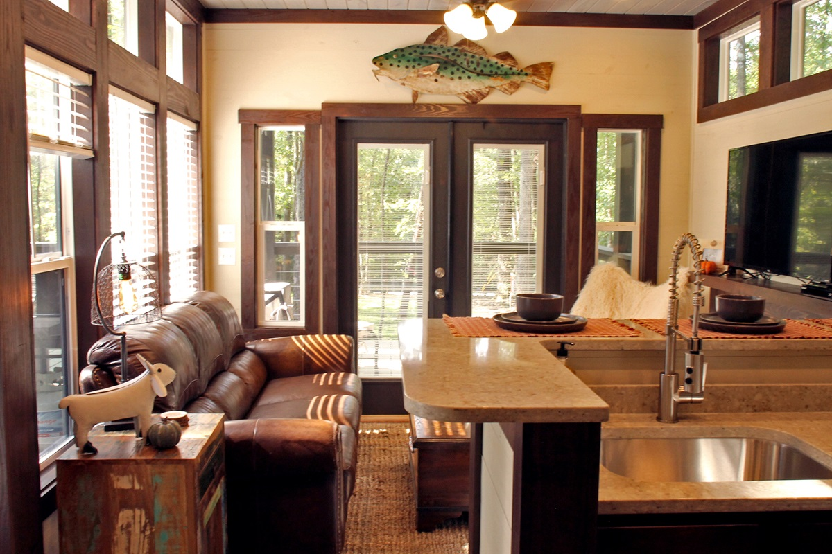 Living Room With Doors To Porch