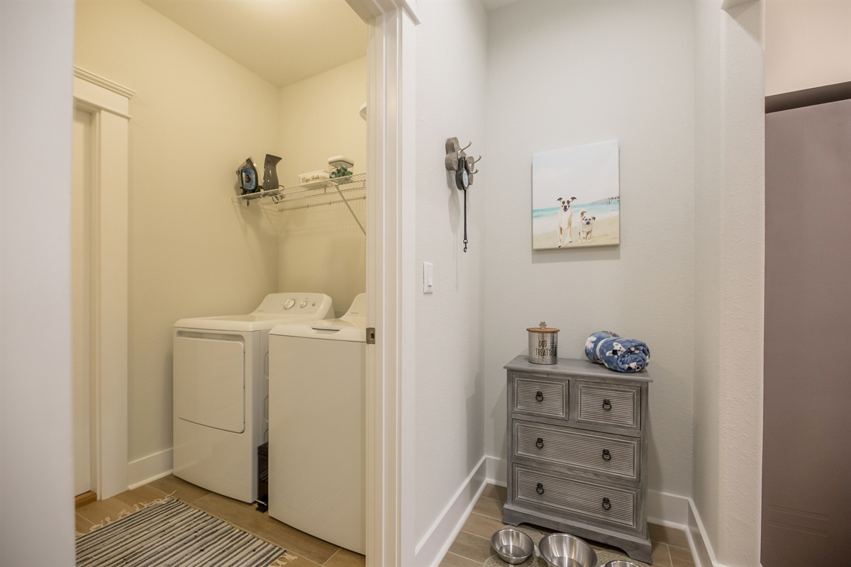 Dog area and full size washer and dryer