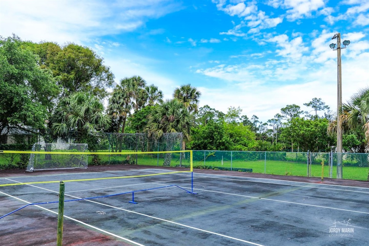 Tennis and badminton court