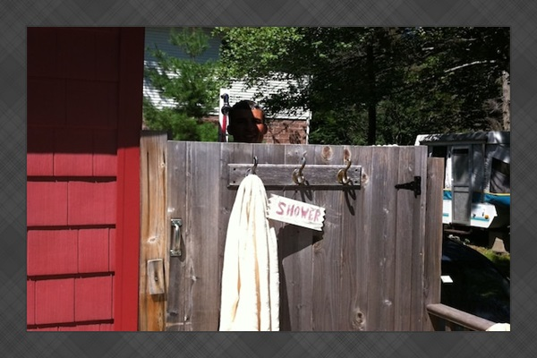 Outdoor shower on the deck - fantastic in the morning sunlight!!