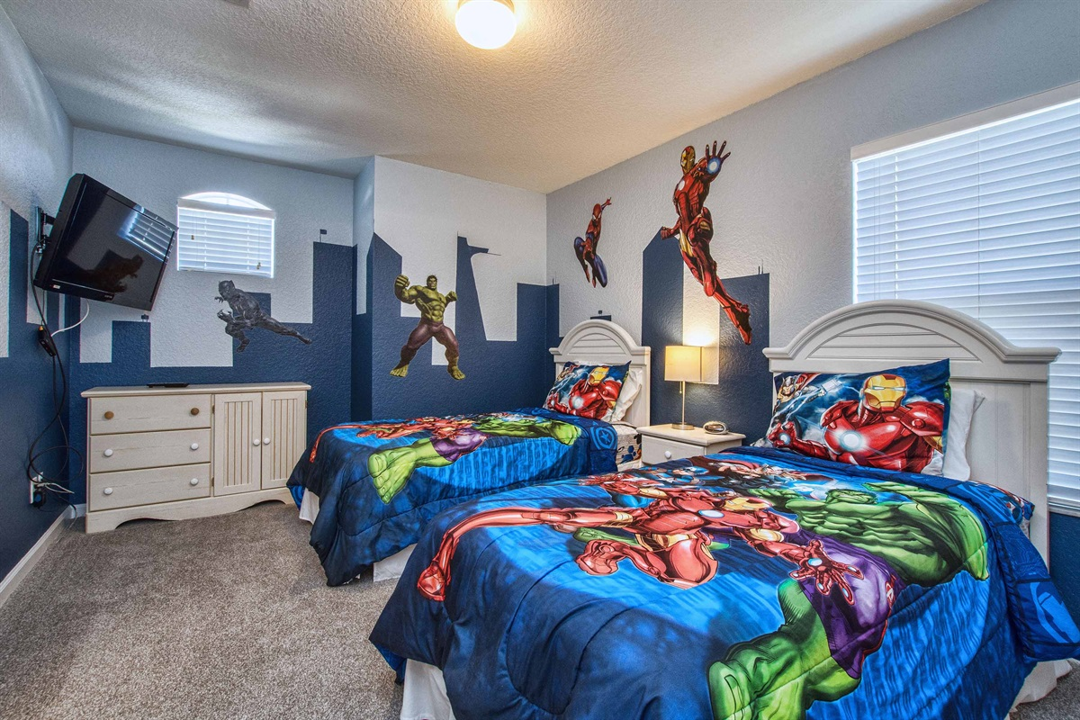Marvel bedroom for those super heroes in your life. Can you find Stark Tower?