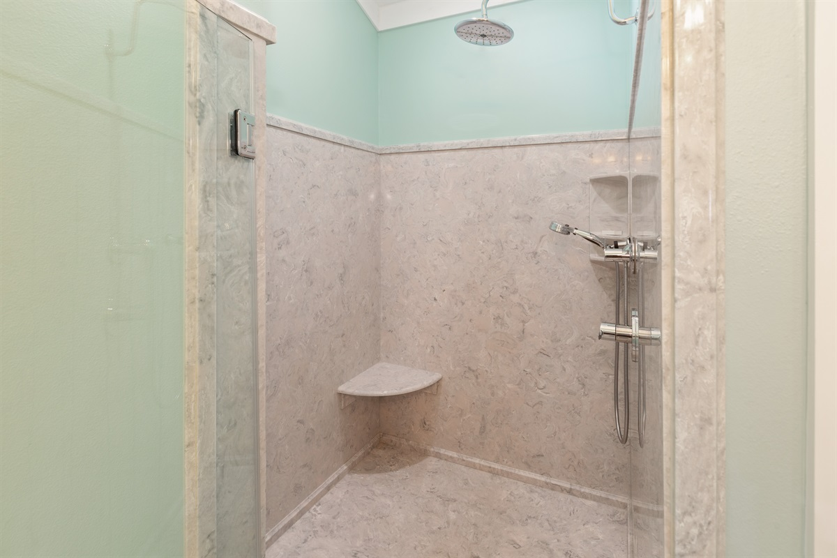Oversized, spa-like shower is a perk of the third floor Gulf-view king suite!