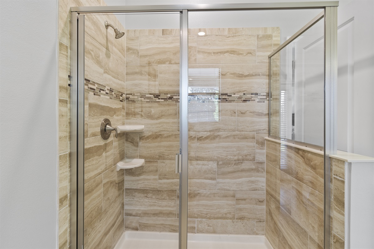 Large Shower Leads To Pool Entrance